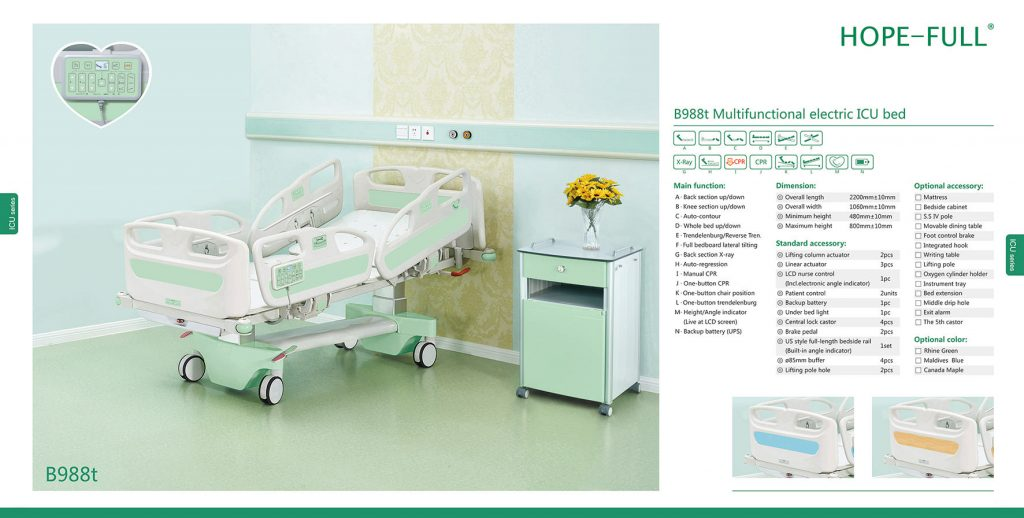 B988t Multifunctional electric ICU beds