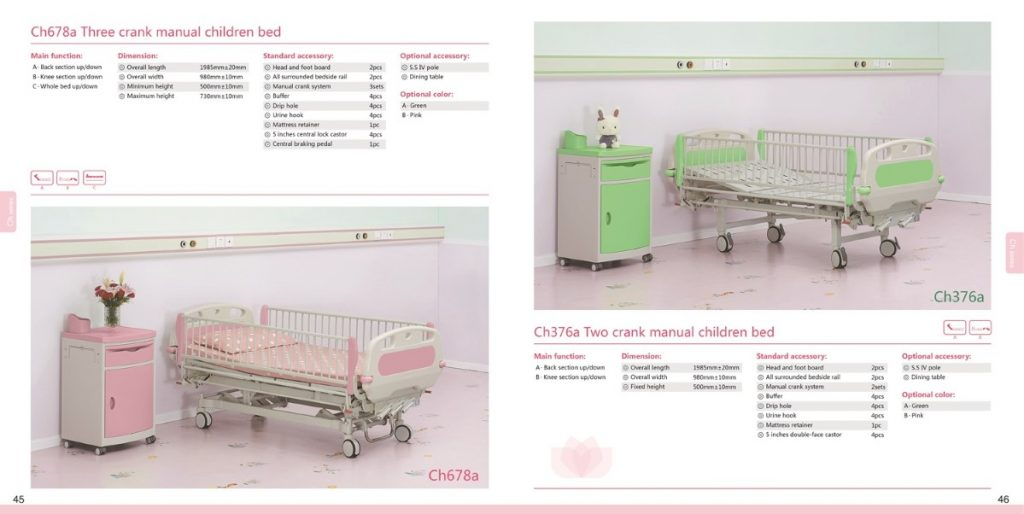 Ch678a Three children crank manual bed