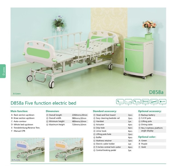 D858a Five functions electric bed