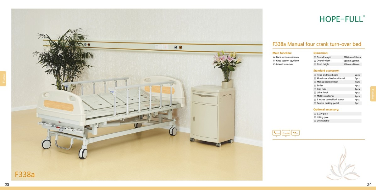 F338a Manual four crank turn-over bed