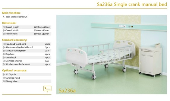 Sa236a Single crank manual bed(For export market only )